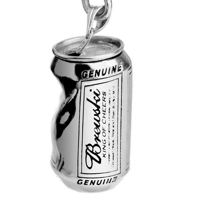 White Trash Charms Sterling Silver Crushed Beer Can Necklace