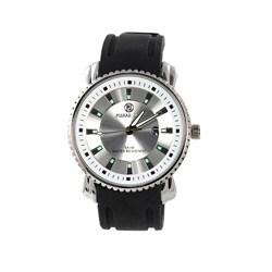 Plerre Jill Men's Simply Manifest Silver Dial Black Silicone Strap Watch