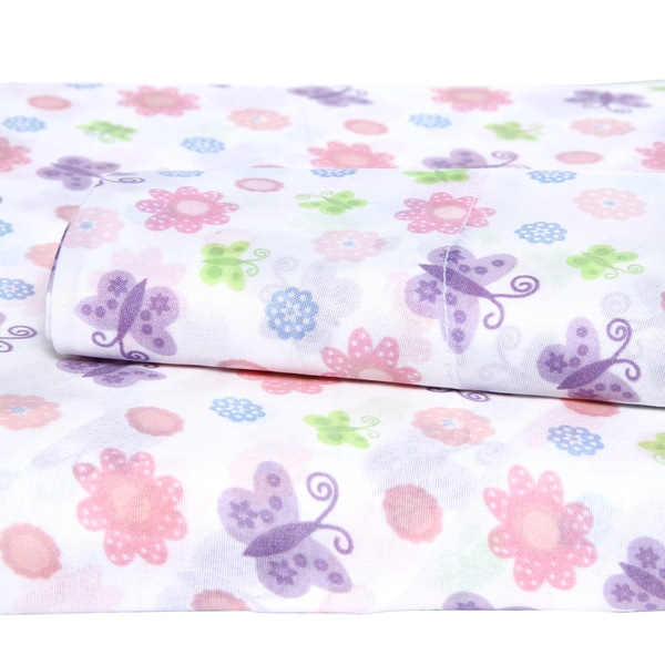 Your Decor Flower and Butterflies Microfiber Twin-size Sheet Set