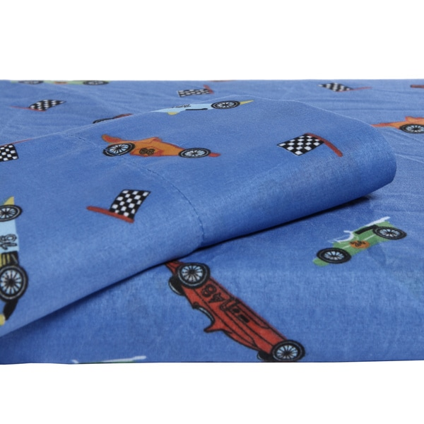 Your Decor Race Cars Microfiber Twin-size Sheet Set