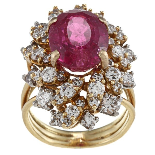 Pre-owned 18k Gold Rubalite and 4/5ct TDW Diamond Estate Ring (G-H, SI1-SI2)