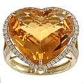 18k Gold Topaz and 5/8ct TDW Diamond Heart Estate Ring (H-I, SI1- SI2)