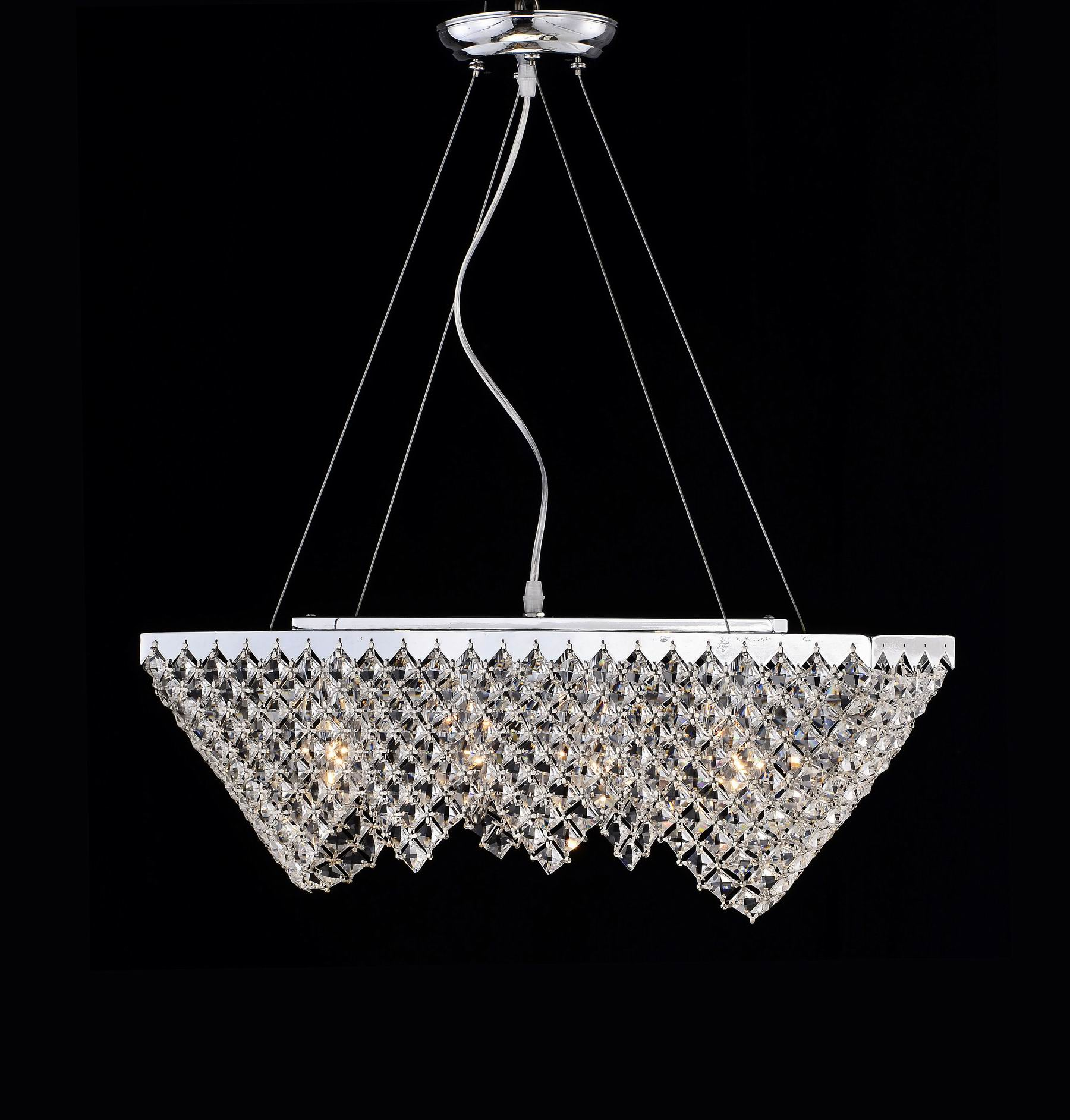 'Pt Loma' Contemporary Chrome and Crystal Chandelier