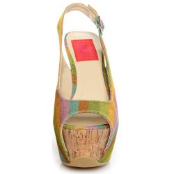 Fahrenheit Women's 'Anne-22' Rainbow Canvas Platform Sling-backs