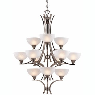 Luxor 12-light Antique Brushed Steel Chandelier
