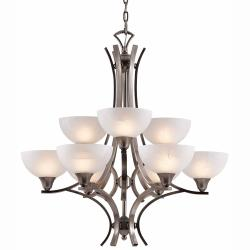 Luxor 9-light Antique Brushed Steel Chandelier