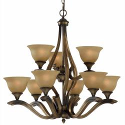 Transitional 9-light Platinum Bronze Chandelier