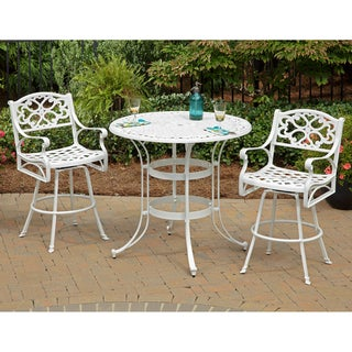 Biscayne Cast Aluminum White 3-piece Patio Bistro Set