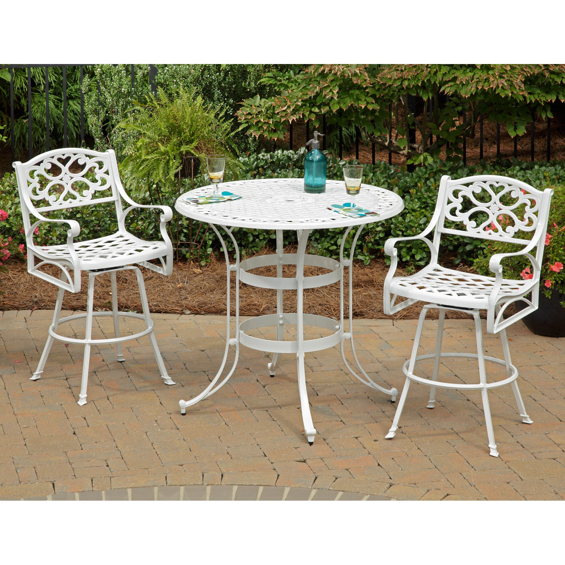 Overstock.com Home Styles Biscayne Cast Aluminum White 3-piece Patio Bistro Set at Sears.com