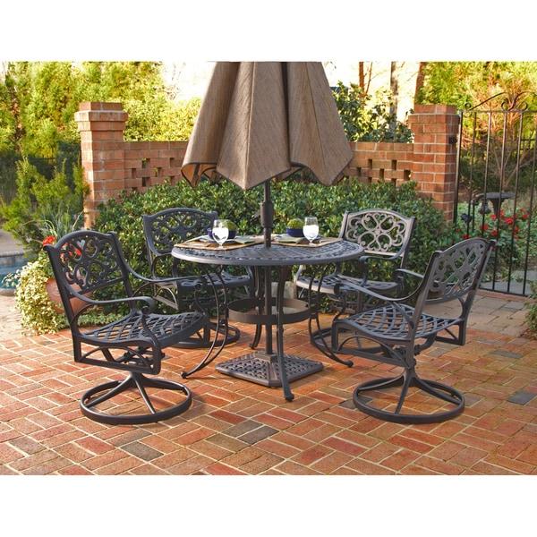 Home Styles Biscayne Cast Aluminum Black 5-piece Patio Dining Set