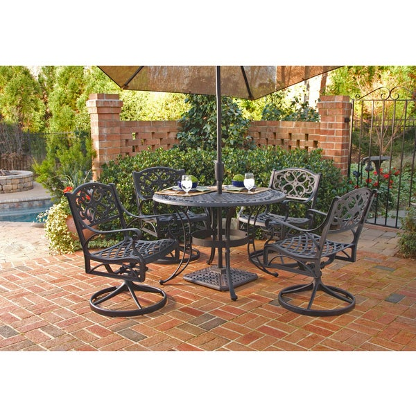Cast Aluminum Black 5 Pc 42 In Patio Dining Set Furniture