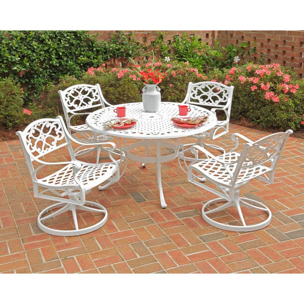 Home Styles Biscayne 5-piece 48-inch White Cast Aluminum Patio Dining Set