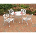 Biscayne 5-piece 42-inch White Cast Aluminum Outdoor Dining Set