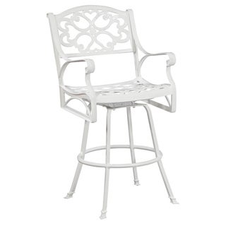 Biscayne Cast Aluminum White Outdoor Stool