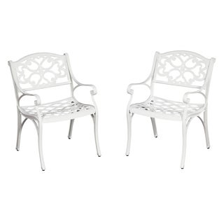 Biscayne Cast Aluminum White Outdoor Arm Chairs (Set of 2)