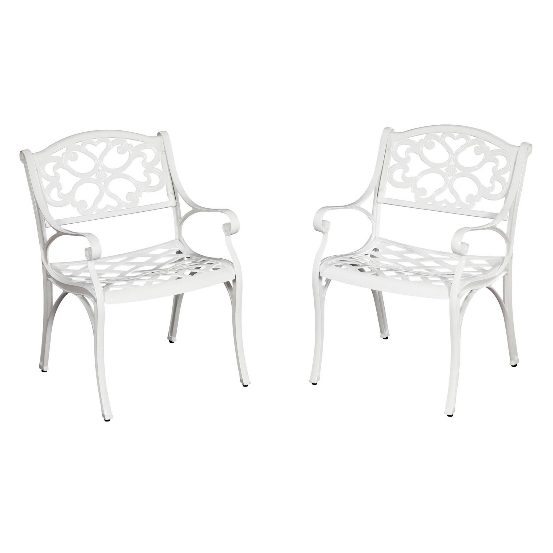 Overstock.com Home Styles Biscayne Cast Aluminum White Outdoor Arm Chairs (Set of 2) at Sears.com