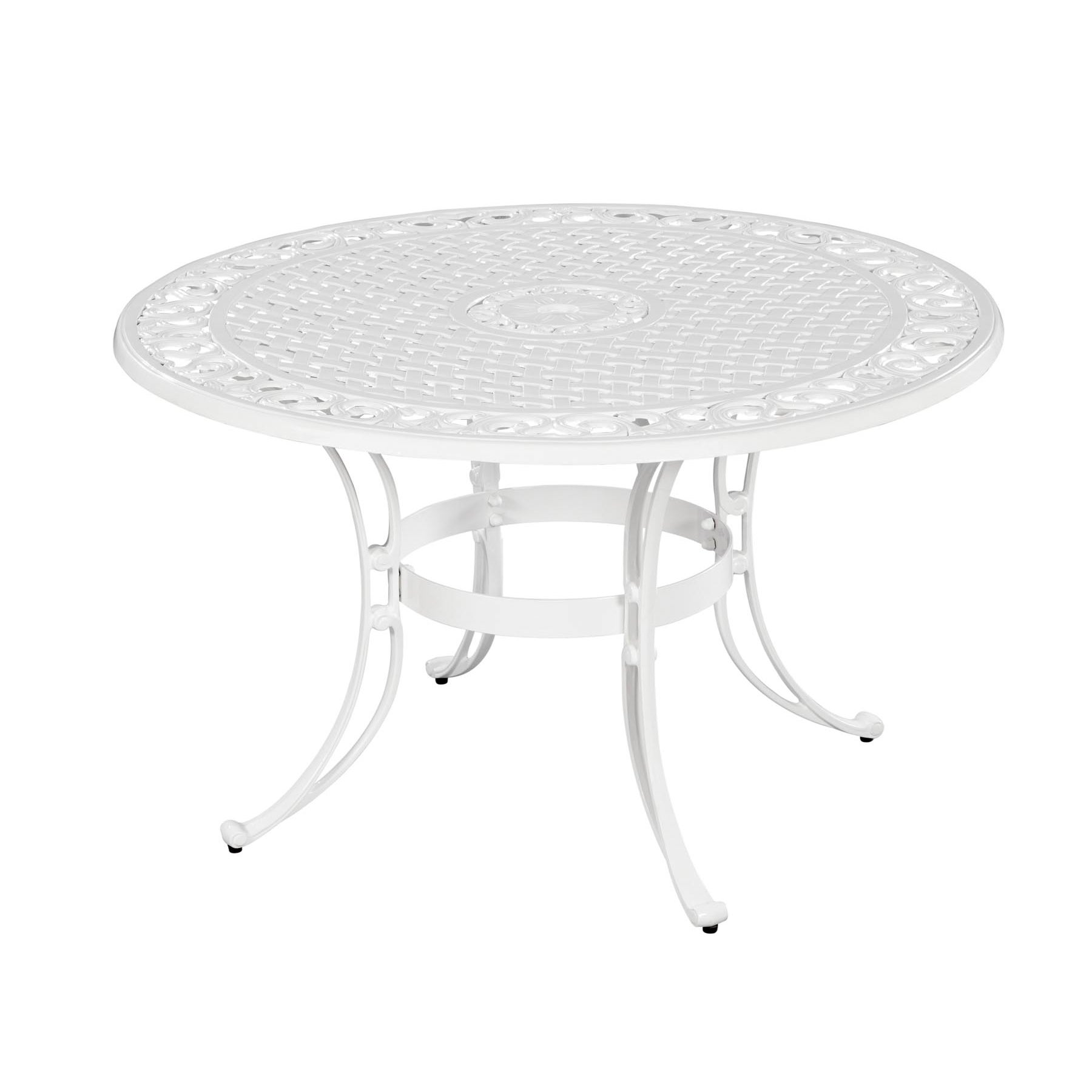 Biscayne cast aluminum white 42 inch outdoor dining table for White metal outdoor dining table