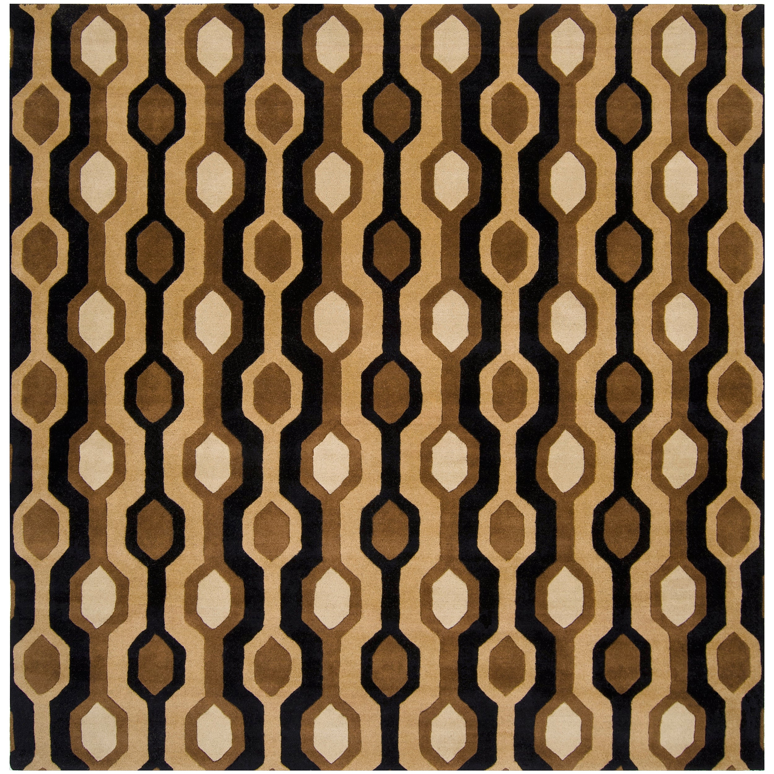Hand-tufted Black Contemporary Boyce Wool Geometric Rug (6' Square)
