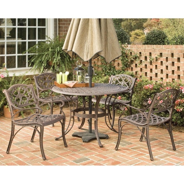 Home Styles Biscayne Cast Aluminum Bronze 5-piece 48-inch Patio Dining Set
