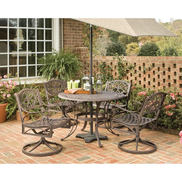 Home Styles Biscayne Cast Aluminum Bronze 5-piece 42-inch Patio Dining Set