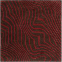 Hand-tufted Contemporary Red/Brown Striped Chasse Wool Rug (4' Square)