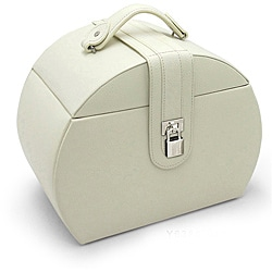Morelle 'Diana' Cream Leather Jewelry Box with Takeaway Case