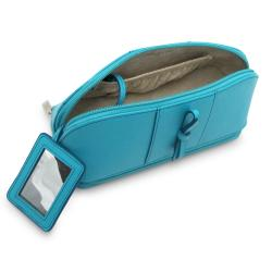 Morelle 'Rachel' Turquoise Leather Cosmetic/ Jewelry Case