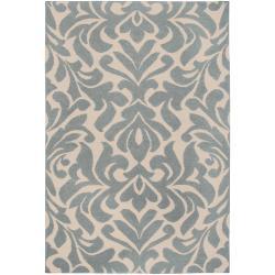 Hand-woven Blue Market E Wool Rug (8' x 11')