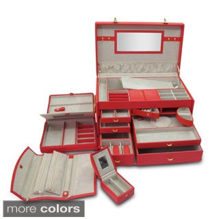 Morelle 'Marylyn' Leather Jewelry Chest with Three Takeaway Cases