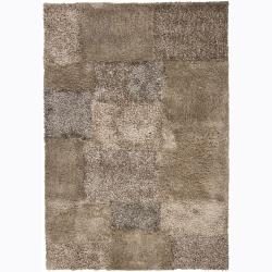 Rectangle Handwoven Mandara Beige Shag Rug (7'9 x 10'6)