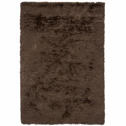 Handwoven Mandara Brown Wool/Polyester Shag Rug (9' x 13')