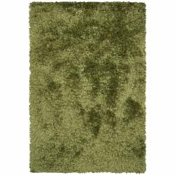 Handwoven Mandara Green Wool/Polyester Shag Rug (9' x 13')