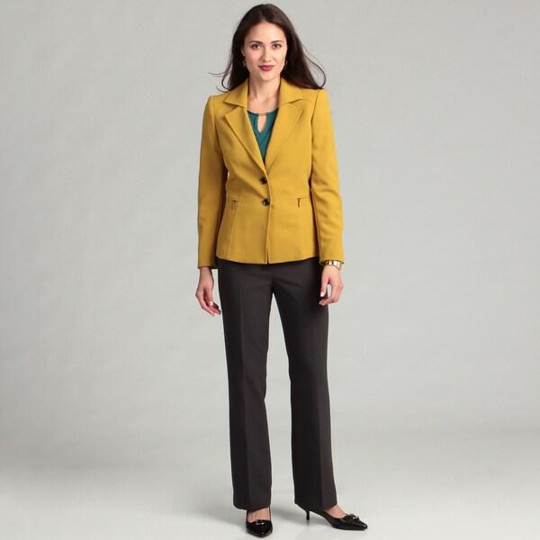 Tahari Women's Chartreuse 2-button Pant Suit