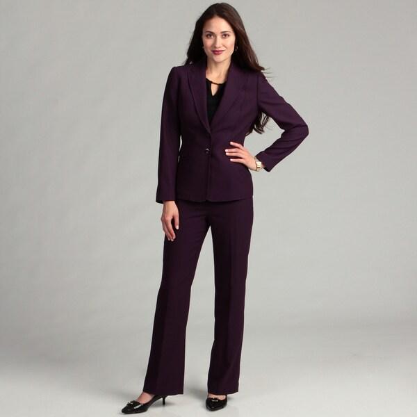 Tahari Women's Grape Herringbone Pant Suit