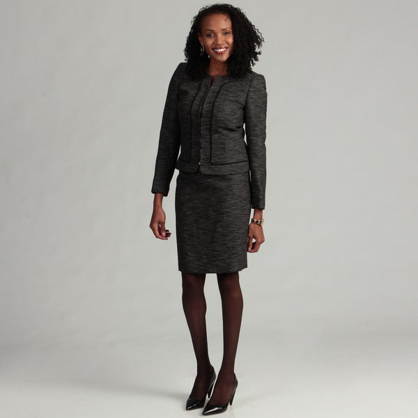 Tahari ASL Women's Collarless Novelty Skirt Suit
