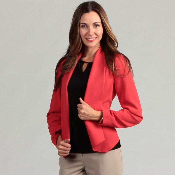 Calvin Klein Women's Tuxedo Lapel Flyaway Crepe Jacket