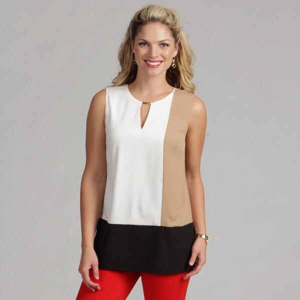 Calvin Klein Women's Winter White Colorblock Top