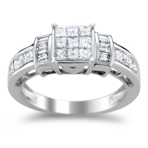 Montebello 14k White Gold 1 1/3ct TDW Princess-cut Diamond Engagement Ring (H-I, I1-I2)