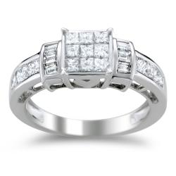 14k White Gold 1 1/3ct TDW Princess-cut Diamond Engagement Ring (H-I, I1-I2)