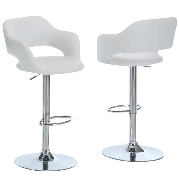 Metal Chrome White Hydraulic Lift Bar Stool 14187286