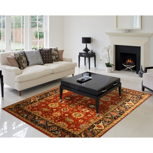 EORC Hand Knotted Wool Rust Super Mahal Rug (9' x 12')
