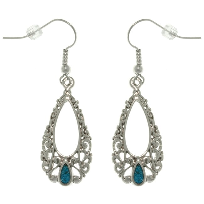 CGC Pewter Created Turquoise Filigree Teardrop Earrings