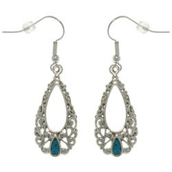 CGC Pewter Created Turquoise Filigree Teardrop Earrings