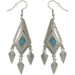 CGC Pewter Created Turquoise Diamond-shaped Dangle Earrings