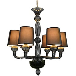 Smoke Glass 6-liight Chandelier with Shades
