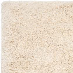 Hand-woven White Citrus New Zealand Wool Soft Shag (5' x 8')