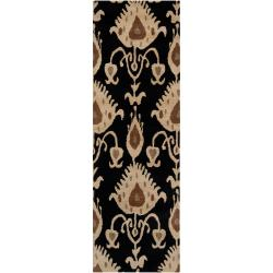 Hand-tufted Black Mercury57 Wool Rug (2'6 x 8')