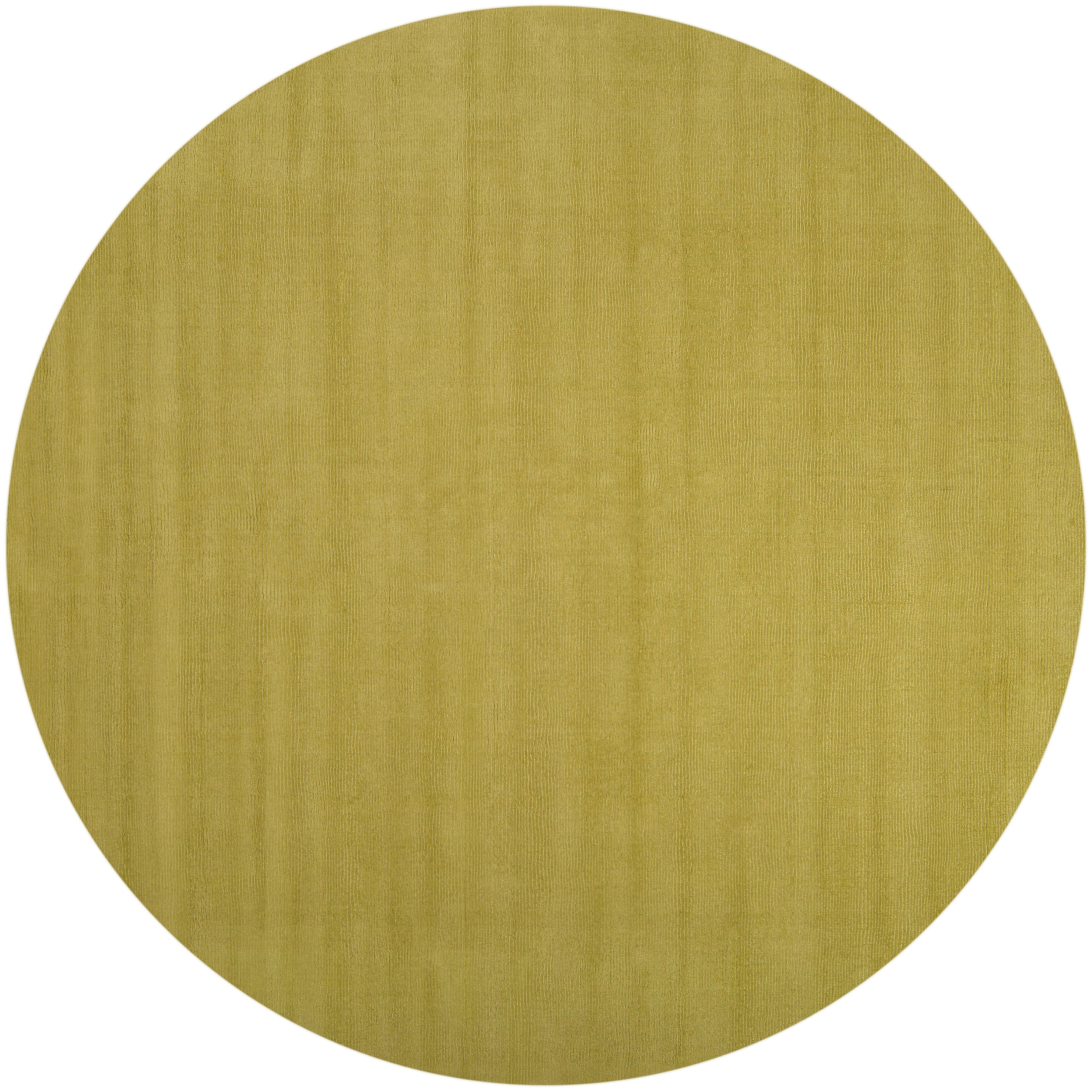 Hand-crafted Moss Green Solid Casual Voronya Wool Rug (8' Round)