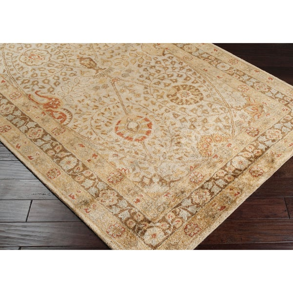 Hand-tufted Natural Panel B New Zealand Wool Rug (3'3 x 5'3)