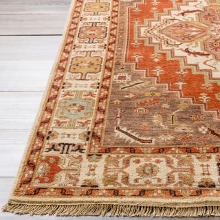Hand-knotted Red Scoure Wool Rug (9' x 13')